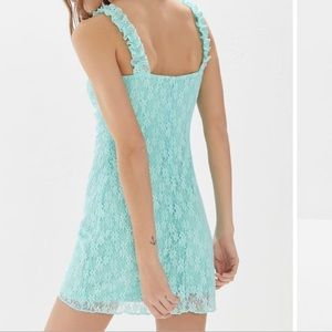 NWT URBAN OUTFITTER LACE RUFFLE BUSTIER MINIDRESS